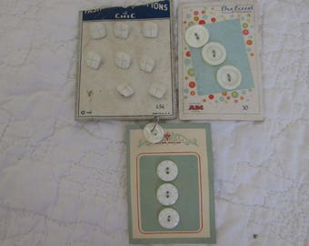 Vintage lot of Buttons 3 cards NOS 15 buttons White