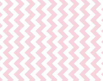 "SALE BABY PINK Small Chevron - Extra Wide 58"" Fabric - Riley Blake Manufacturer's Cut Mc - 1 Yard Cut - Bty Pink Chevron"