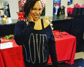 LOVE- Off the shoulder Sweatshirt