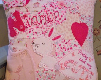 Handmade Memory Cushion with Baby Grow Children's Clothes