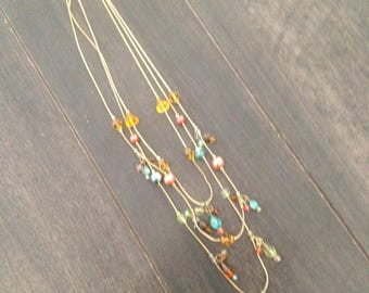 Multi-Strand Necklace with Multi-Hued Beads