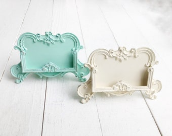 Patina Aqua Blue Business Card Holder , Country Chic , Romantic Home Office , Verdigris, French Farmhouse Blue , Creamy Ivory White Metal