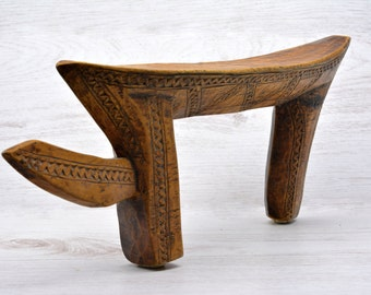 Ethiopian Headrest, Carved,  Solid ,Wood ,Jinka tribe,African, Art , Ethiopia, Africa