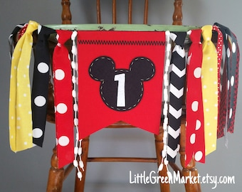 Mickey Mouse Birthday Banner, 1st Birthday highchair banner, smash cake photo shoot