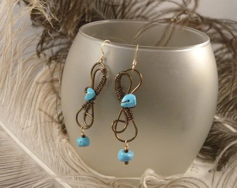 Designer Vintage Bronze Wire and Magnesite Earrings