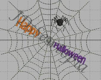 Happy Halloween Spider Web Machine Embroidery Design 4x4 in 17 Formats