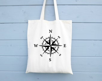 Compass Rose, Cotton Bag, Compass, Tote Bag, Travel Bag, Canvas Bag, Shopping Bag, Grocery Bag, Shopper, Market Bag, Adventurer, Nautical