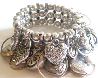 Puffy Heart Cha Cha Bracelet Wide Band Charm  Stretch Silver Tone Etched Cutwork Filigree Modernist Vintage Free Shipping
