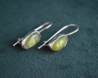 Silver Drop Earrings with Green Tourmaline, Sterling Silver Drops with Tourmaline, Women's Silver Earrings with Gemstones, Gift for Her