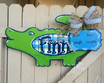Baby Gator Alligator Door Hanger Personalized Hand Painted