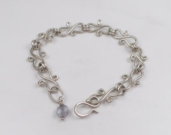 Link Bracelet, handcrafted in sterling silver with Kyanite