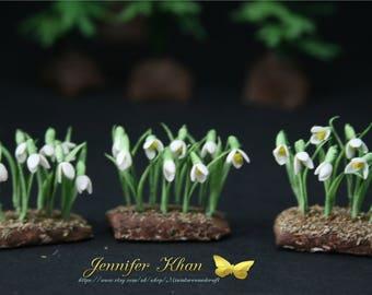 OOAK Snowdrops ~12th Scale~Cold Porcelain Flowers~ Dolls House Miniature~Fairy Garden~Handmade Miniature