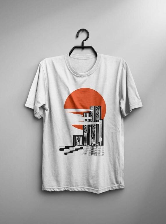 Abstract Art Print Japanese Kente Collage Sunset Original Graphic Design Tshirt Skater Streetwear Christmas Holiday Gift e9Krc