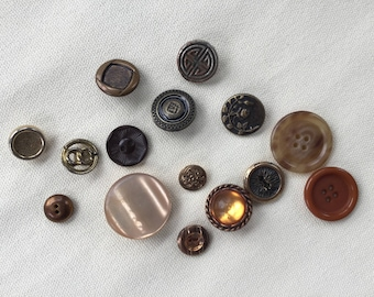 Vintage Buttons Lot - Brown - Button Bib Necklace Lot - 019