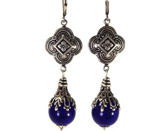 Royal Blue Quatrefoil Earrings in Antiqued Silver and Layered Filigree Antique Victorian Renaissance Revival Style Cobalt Blue Czech Glass
