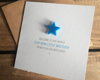 Welcome to the World: Our New Little Brother from your Big Brother(s) Card with detachable magnet keepsake