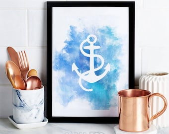Nautical Printable Art, wall art, home decor, anchor art print, watercolor print, blue, nautical decor, instant download, digital download