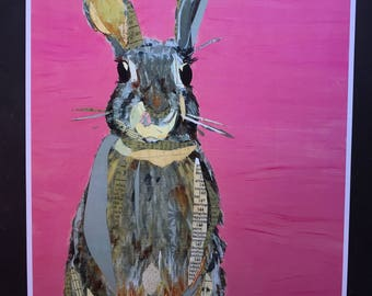 Bunny on Pink Limited Edition Print from Original Painting Collage