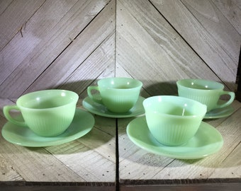 Jadeite Jadite Jane Ray 4 Cups and  4 Saucers  Jadeite Green - Fire-King  Fire King