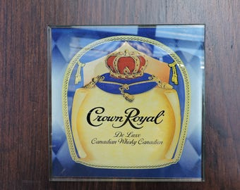 Vintage CROWN ROYAL Glass Coaster - Canadian Whisky