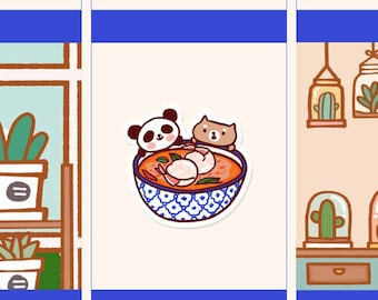 Cute Tom yum kung tickers, Cute Thai food planner Stickers, Cutefood sticker, Cute panda sticker, Cute Asian fod stickers (PD060)
