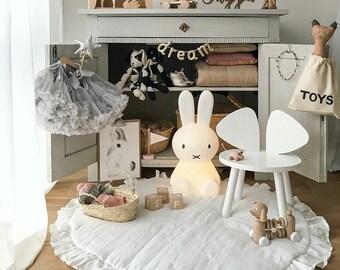Soft White Play Mat / Linen Baby Play Mat/ Round Play Mat / Play Mat with Frill / Boho Nursery Decor / Kid's Rug / Boho Play Mat / Baby Rug
