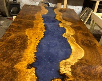 Brown Burr Oak River Table 2 with mica flakes