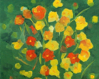 cosmos - orange and yellow flowers archival print of original oil painting