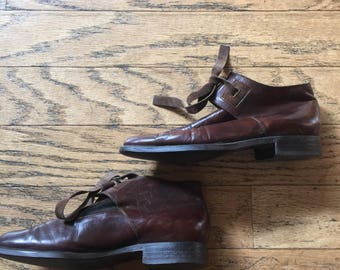 Vintage French  Brown Leather Ankle Boots // Size  5.5