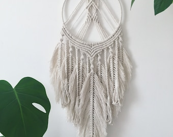 Large feathered macrame dream catcher