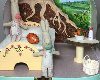 Little Bunnies Burrow, suitcase diorama. Featuring Maileg My Rabbits in their Tree root bedroom.