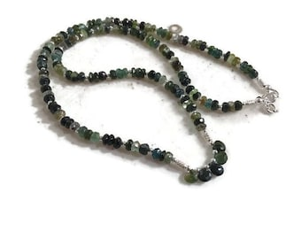 Green Necklace - Tourmaline Gemstone Jewelry - Sterling Silver Jewellery - Luxe - Chic