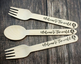 12 Travel Baby Shower, Spoons, Forks, Knives, Welcome to the World, Boy, Girl, Favors, Decorations, Gender Reveal, Greatest Adventure, party