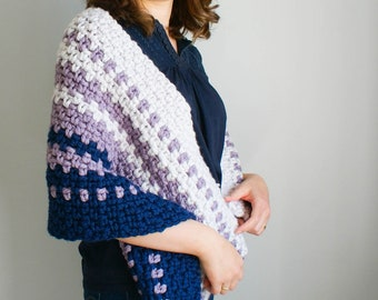 Crochet Pattern Shawl ~Ella Hygge Wrap ~ Crochet Hygge Throw ~ Easy Crochet