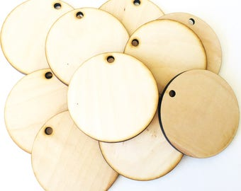 "Unfinished Large Round Wood  Circle Discs with hole 3 1/2"" Set of 10, wood disc, wood ornament, Holiday Craft supplies, jewelry supplies"
