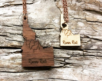 River Rat - Salmon River Idaho Wood State Necklace - Two Sizes - Customizable Wood Necklace - Wooden ID State Jewelry with Copper Tone Chain