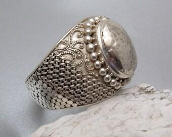 Wide Sterling Cuff Bracelet Granulation Bold Jewelry