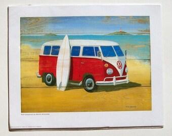 Red Campervan Martin Wiscombe Print