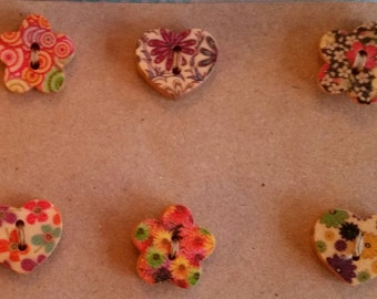 Wooden buttons. Hearts and flowers buttons. Painted buttons