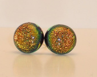 Amber Dichroic Glass Post Earrings