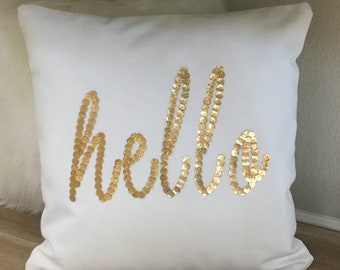 Hello Sequin Embroidered Throw Pillow Cover - White Pillow Cover with Gold Sequin