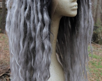 Silver Grey Ombre Synthetic Lace Front Dreadlock Wig * Syntheic Dreads * Strega * Mori Girl * Pastel * Nu Goth * Fairy * Faerie * Witch *