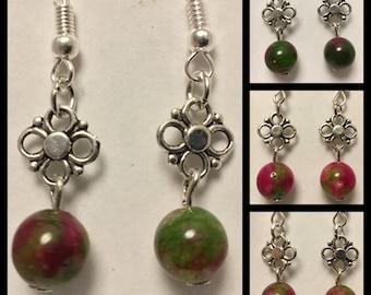 FUCHSIA n GREEN EARRINGS - natural gemstone