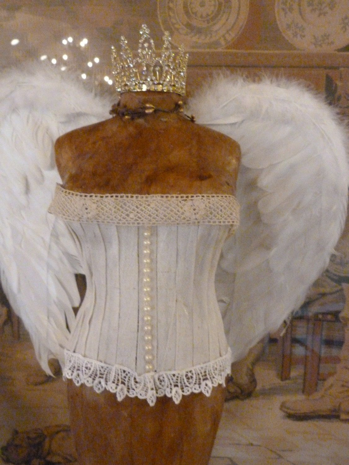 Vintage Inspired Tabletop Dress Form Angel Wings Bridal Shower