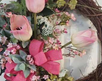 Spring Pink Tulip Wreath, Spring Tulip Wreath, Spring Grapevine Wreath, Outdoor Spring Wreath, Pink Tulip Wreath, Spring Wreath Tulips