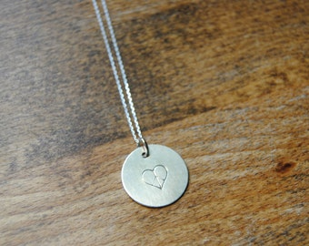 Peace and Love Hand Stamped Circle Disc Pendant w/ 18-inch chain, Sterling Silver