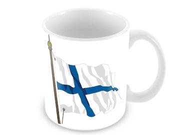 Finnish Flag Ceramic Coffee Mug    Free Personalisation Finland