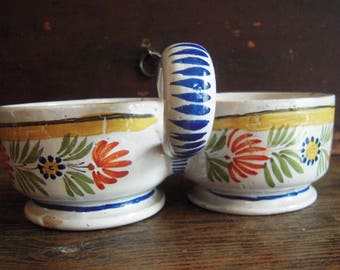 Antique Quimper Pottery 19th Century Oil and Vinegar Pied d'huiler viniagrier Rare Early Piece in French Country Pottery Style