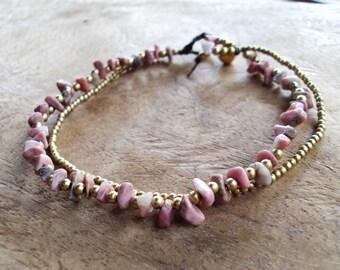 Rhodonite anklets,Stone anklets,Brass anklets,Pink anklets
