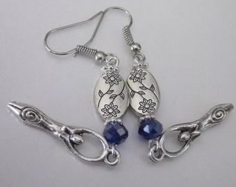 Silver Goddess Earrings, Chandelier Earrings, Sapphire Swarovski Crystals, Long Lightweight Earrings, Pagan Jewelry